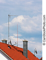 Antennas and chimneys on the roof
