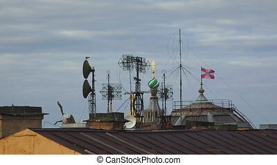 Antennas and transponders on the roof. 4K.