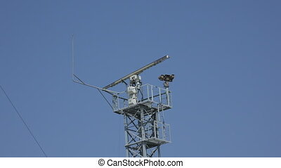 Antennas and transponders on the roof. 4K. - Antennas and...