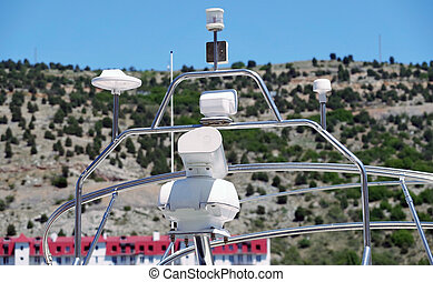 communication and navigation equipment on the mast of ship