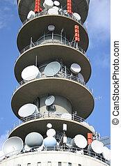 Antennas - Communication tower with tv and radio antenna