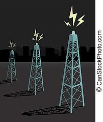 Antennas transmitting / Night boadcasting