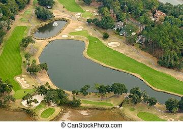 antenne, golf kurs