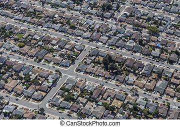 antenne, i, mellemst klasse, naboskab, nær, oakland, californien
