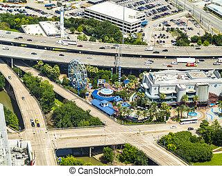antenne, i, moderne, hovedkanalen, broer, infrastruktur, og, gader, ind, houston