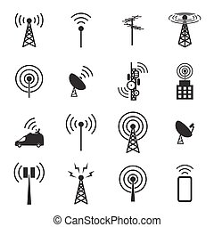 antenne, ikone, satz