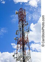 antenne, met, blauwe hemel