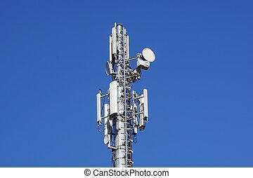 antenne, mobile, cellules, tour, communications., télécommunications