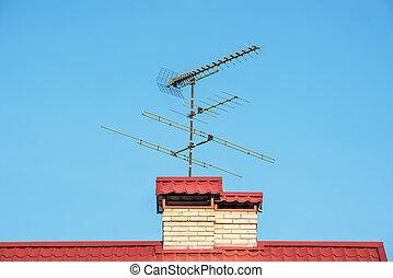 antenne, su, il, cima, di, il, roof.