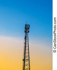 antenne, téléphonie, coucher soleil, radio, télécommunications, tã©lã©viseur
