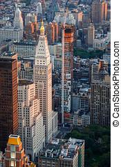 antenne, urban, udsigter, i, midtown, øst