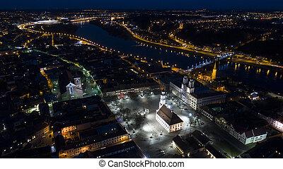 antennen beskådar, av, gammal by, av, stad, om natten