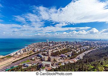 antennen beskådar, av, haifa, israel