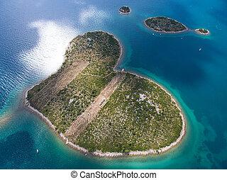 antennen beskådar, av, hjärtan, format, galesnjak, ö, på, den, adriatiska havet, coast.