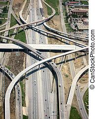 antennen beskådar, av, motorväg