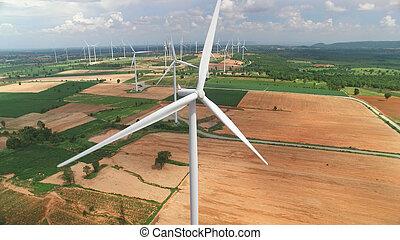 antennen beskådar, av, slingra turbiner, in, blåttsky