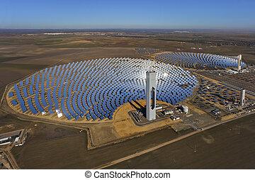 antennen beskådar, av, sol, termisk, kraftverk