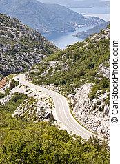 antennen beskådar, på, väg, till, risan., montenegro