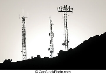 antenner, någon, silhouetted