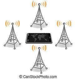 antennes, téléphone, autour de, intelligent