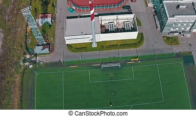 antenowy prospekt, od, szkoła, drużyna, grając piłkę nożna