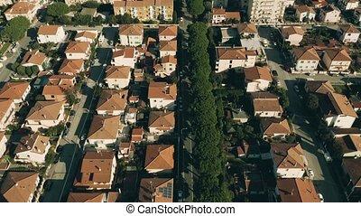 antenowy prospekt, od, taflowy, mieszkanie, domy, w,...