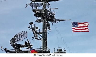 anteny, bandera, nośnik, usa