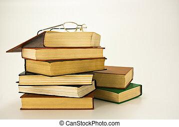 anteojos, aislado, muchos, libros, blanco