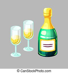 anteojos, alcohol, carbonated, botella, beverage., champaña...