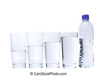 anteojos, con, agua mineral, botella