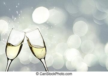 anteojos, con, champaña, contra, feriado, luces