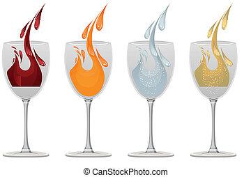 anteojos, con, vino, jugo, y, agua, blanco