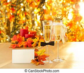 anteojos de champán, con, conceptual, heterosexual, decoración