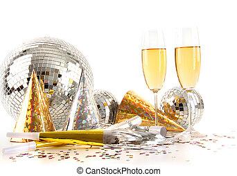 anteojos de champán, pelota, disco