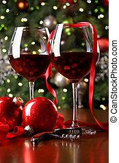 anteojos, feriado, fondo rojo, vino