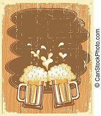 anteojos, grunge, texto, ilustración, cerveza, vector, fondo.