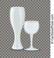 anteojos, taza, vidrio, pilsner, vacío, transparente, mockup...