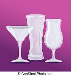 anteojos, tazas, vidrio, vacío, transparente, mockup
