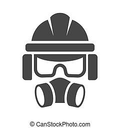 anteojos, vector, auriculares, protección, icon., casco, constructor, respirador, seguridad