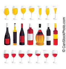 anteojos, vino, set., botellas, seis, vino.