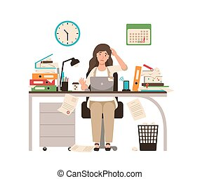 antes, colorido, escritorio, vector, style., computador portatil, día, ilustración, cubierto, oficinista, sentado, deadline., oficinista, documents., caricatura, plano, mujer trabajo, ocupado, o, totalmente, tiempo extraordinario, hembra