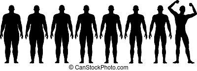 antes de, após, gorda, ajustar, dieta, perda peso, sucesso
