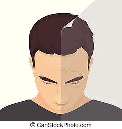 antes de, após, tratamento, beleza, homem