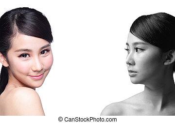 antes de, cuidado, mulher, após, pele