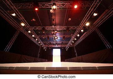 antes de, exposição, versátil, iluminação, pódio, começando...