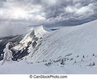 antes de, montanhas, snowstorm, inverno, panorama