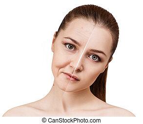 antes de, rosto, após, rejuvenation., mulher