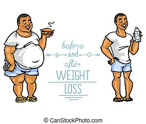 Antes, después, pérdida, peso, hombre