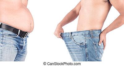 antes y después, grasa, vientre, después, pérdida de peso