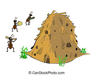 anthill and ants isolated